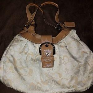 COACH tan and beige cloth satchel type purse